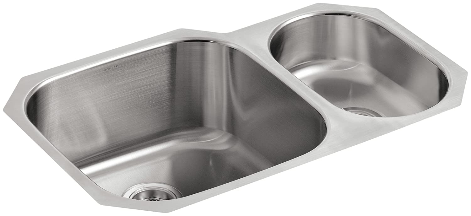 KOHLER K 3355 NA Undertone High/Low Undercounter Kitchen Sink, Stainless  Steel   Double Bowl Sinks   Amazon.com