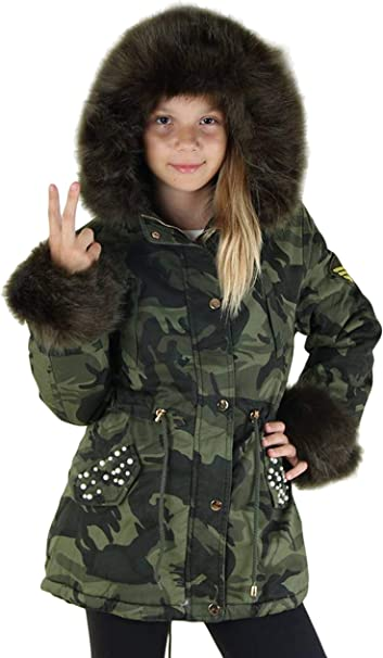 jacke winterjacke fur in camouflage
