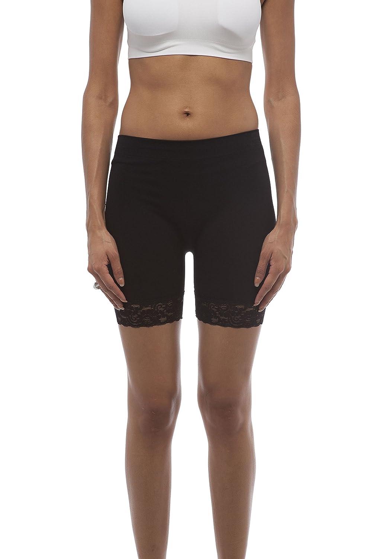 Short Length Slipshort Dance Short With Lace Contrast On Leg