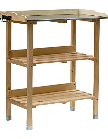 Mesa de plantación de madera, mesa de jardín con placa de zinc y 2 estantes