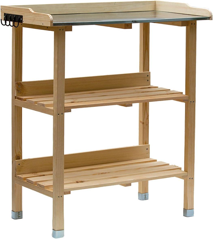 Mesa de plantación de madera, mesa de jardín con placa de zinc y 2 estantes, resistente a la intemperie, estantería para plantas de 76 x 38 x 91 cm, para jardín, terraza