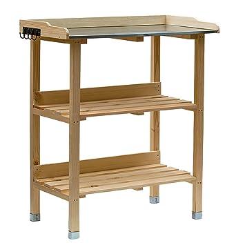 RM Design Table de plantation en bois avec plateau en métal et 2 étagères,  résistante, pour jardin, balcon, terrasse, 76 x 38 x 91 cm 76 x 38 x 91 cm  ...