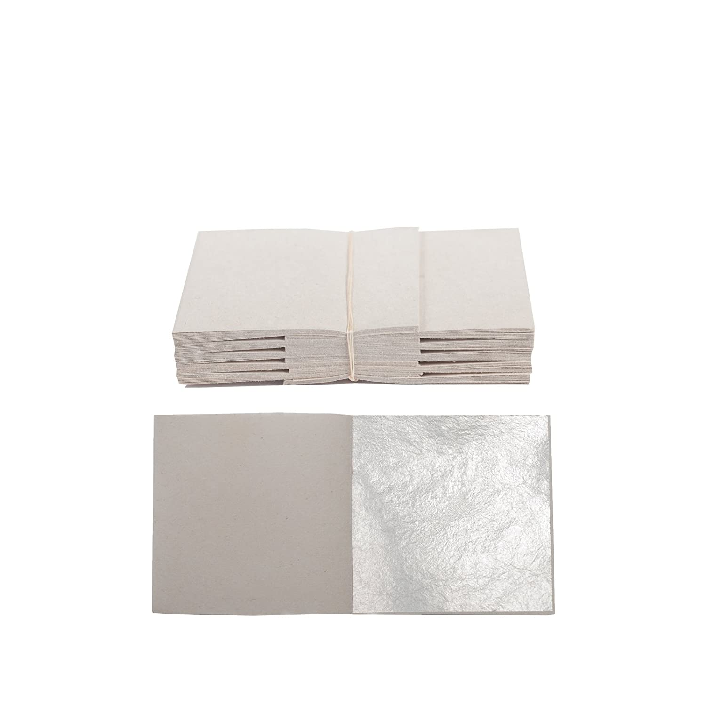 100 Sheets Genuine Pure Silver Leaf Leaves Size: 50mm x 50mm Blattgold-Blattsilber