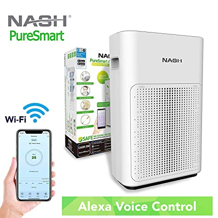 Smart WiFi Air Purifier, Works with Alexa Google Home Voice Control, True H11 2-in-1 HEPA Carbon Filter, Full Home Air Cleaner for Allergies, Dust, Odors. NASH AP-1 PureSmart, Includes Filter
