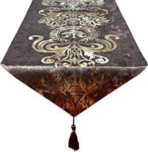 Yingsen New Hot Stamping Contracted Classic Table Runner 13x70inch (1370 inch, Coffee)