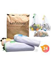 Reusable Produce Bags, Lavinrose Reusable Mesh Produce Bags with Drawstring & Tare Weight Tags, Durable Overlock-Stitched Strength, See-Through & Washable Storage Bags