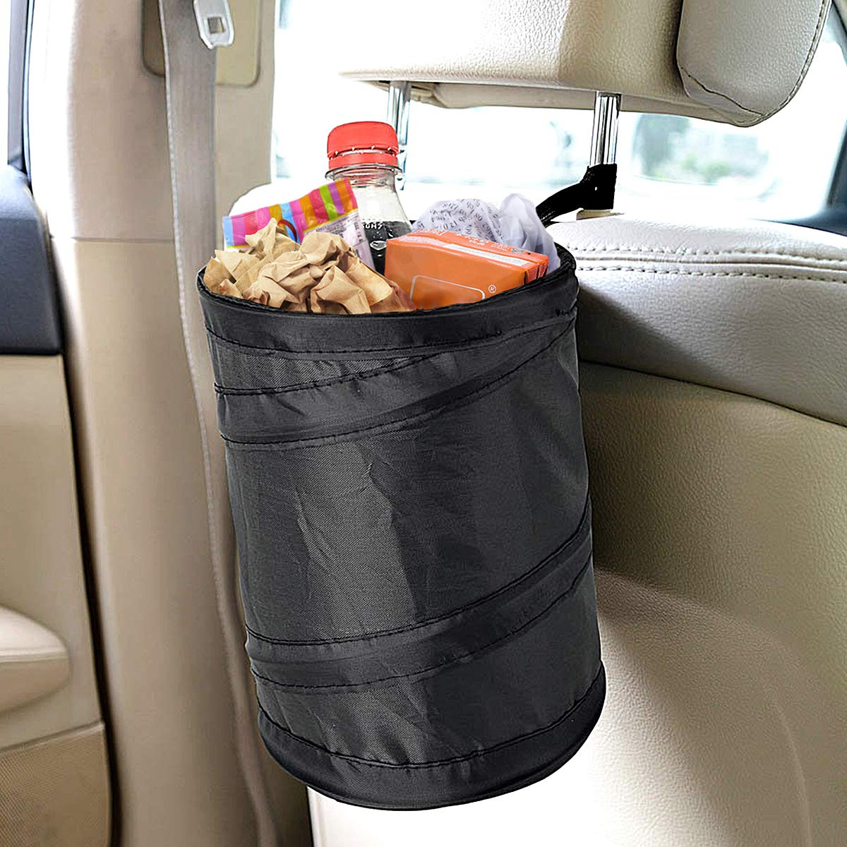 Binboll 2 Pack Leak Proof Car Trash Can Pop Up Water Proof Can Collapsible Garbage Bin Great Storage Universal Fit