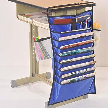 blau Schreibtisch-H/ängetasche Oxford-Stoff Klassenzimmer Schreibtisch-Organizer Aufbewahrungstasche Lehrb/ücher