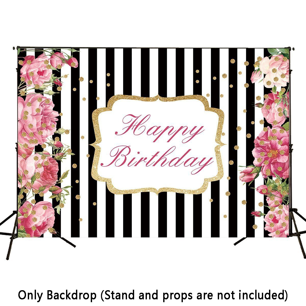 Allenjoy 7x5ft Black and White Stripe Pink Floral Birthday Backdrop Party Decoration Banner Gold Dots Adult Children Photocall Photo Booth Background
