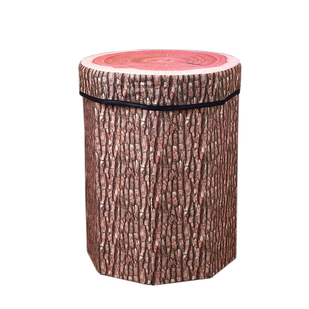 DinQ Lovely Fruit Storage Ottoman, Storage Chest Suitable for Kids Room Living-Room Entryway Bedroom Beverage Shop, ETC. (Tree Stump, L)
