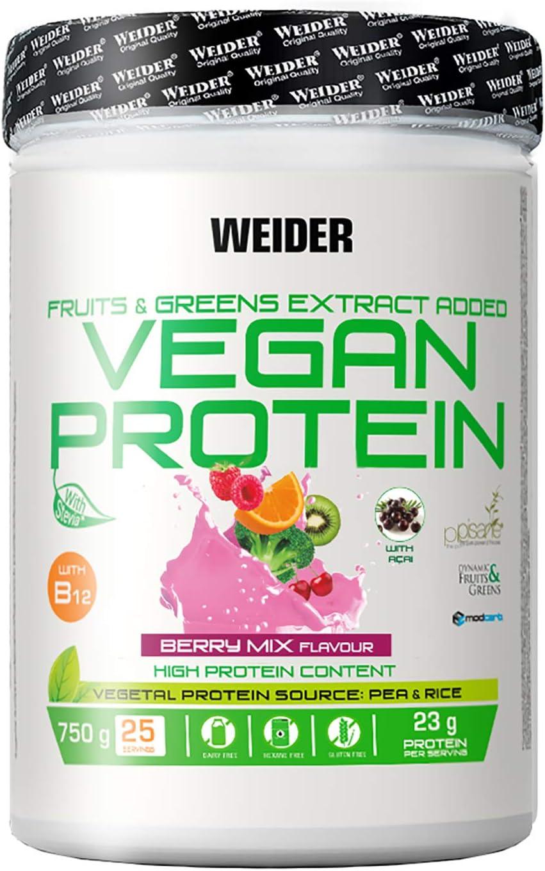 Weider Vegan Protein, Sabor Frutos Rojos, Proteína 100% vegetal de guisantes (PISANE) y arroz, Sin gluten, Sin lactosa, Sin aceite de palma (750 g)