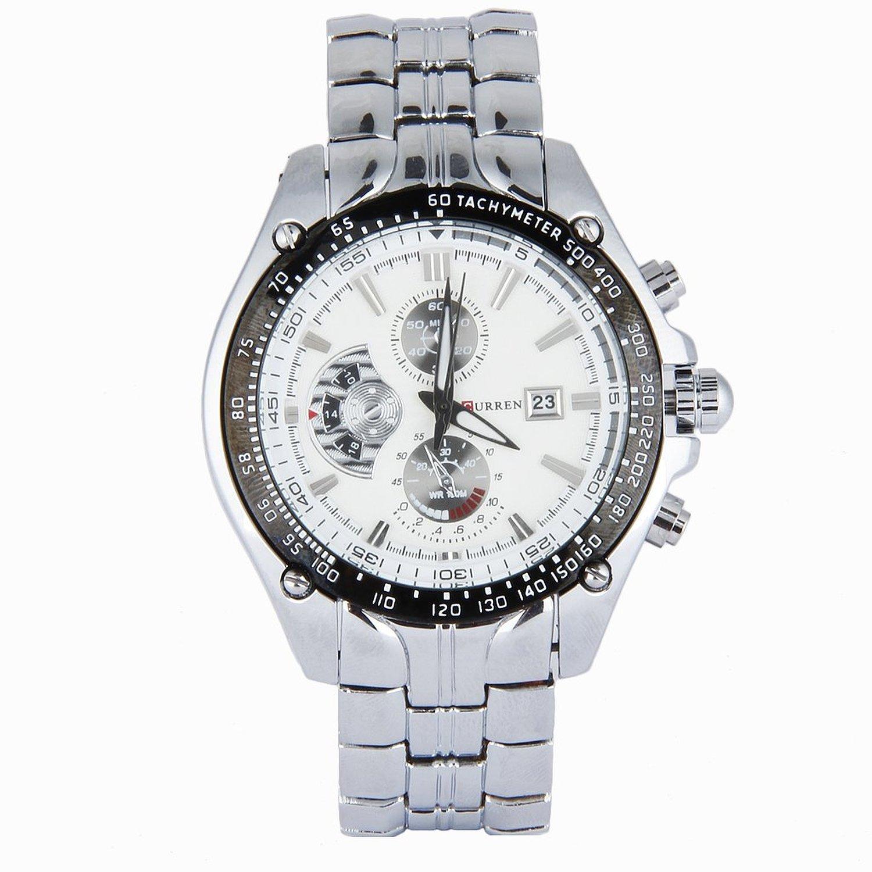 Amazon.com: ShoppeWatch Relojes de Hombres Mens Bracelet Watch Metal Band Silver Tone Large Face CR8083SLWH: Watches