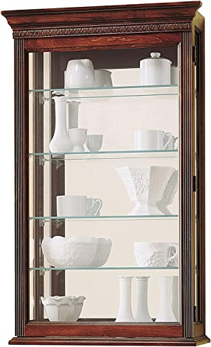 Howard Miller Edmonton Wall Curio Cabinet 685-104 Windsor Cherry Glass Display Case
