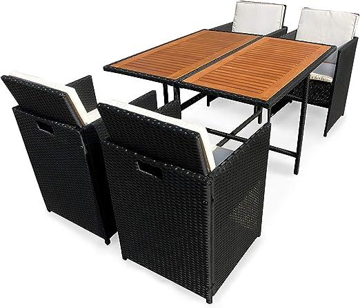 Indoba XL - Conjunto de muebles de jardín de alta calidad de polirratán, 5 piezas, mesa, sillas con cojines, juego de jardín, terraza: Amazon.es: Jardín