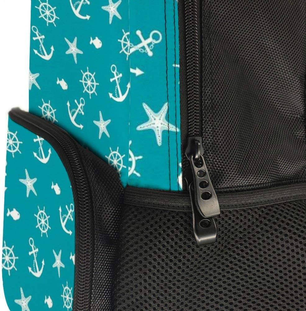 JasonGGG Ocean Creatures Silhouettes Fish Starfish Helm on Vivid Background Sailing ThemeTeens School Bookbags Travel Laptop Daypack Bag Lightweight Water Resistant Schoolbag for Boys Girls