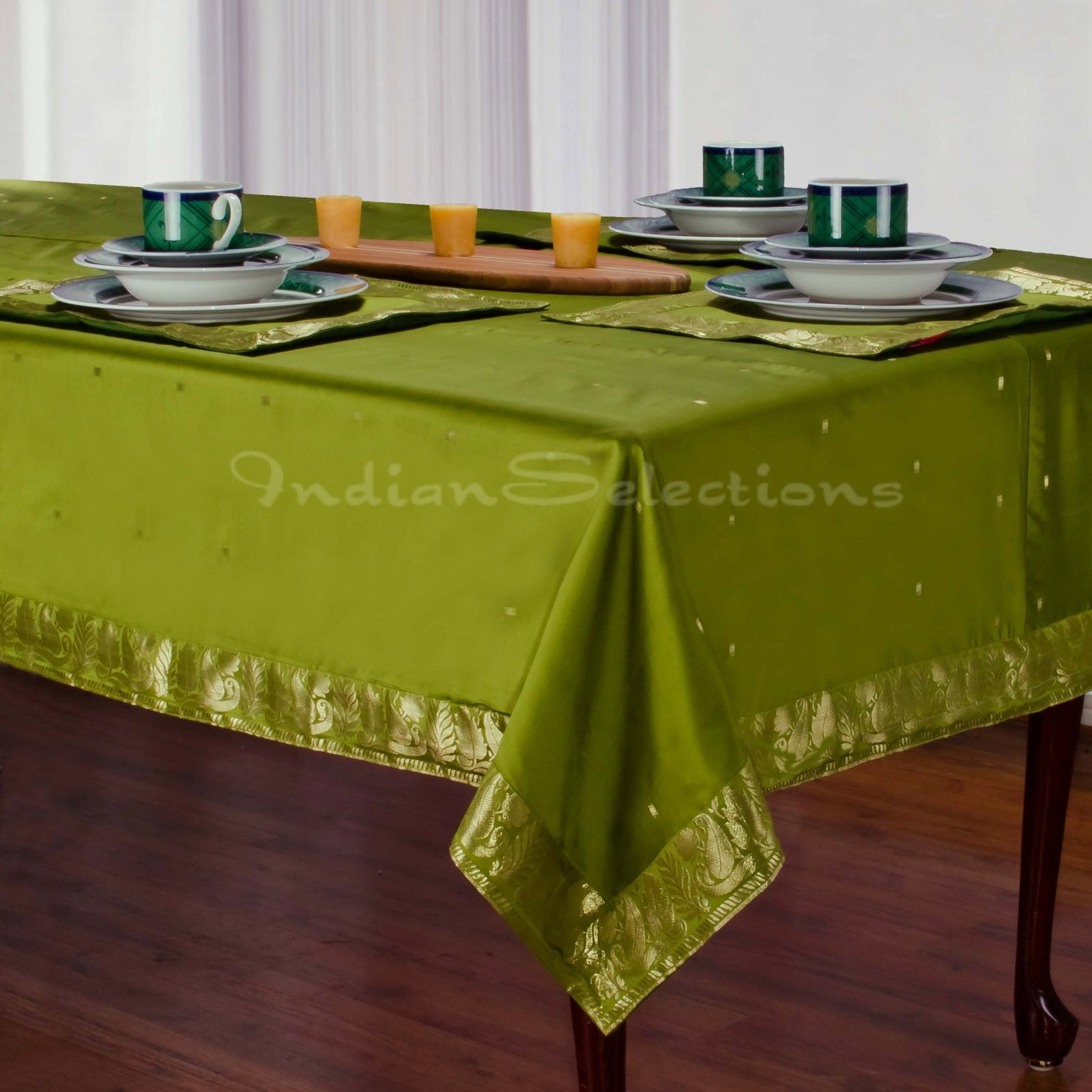 Olive Green - Handmade Sari Oblong Tablecloth (India) - 52'' X 70''