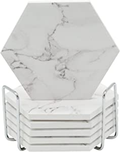 COTIDIANO Absorbent Hexagon Coasters for Drinks - 6pcs Ceramic Coaster Set with Silver Metal Coaster Holder - White Marble Coaster Design with Non Slip Cork Base
