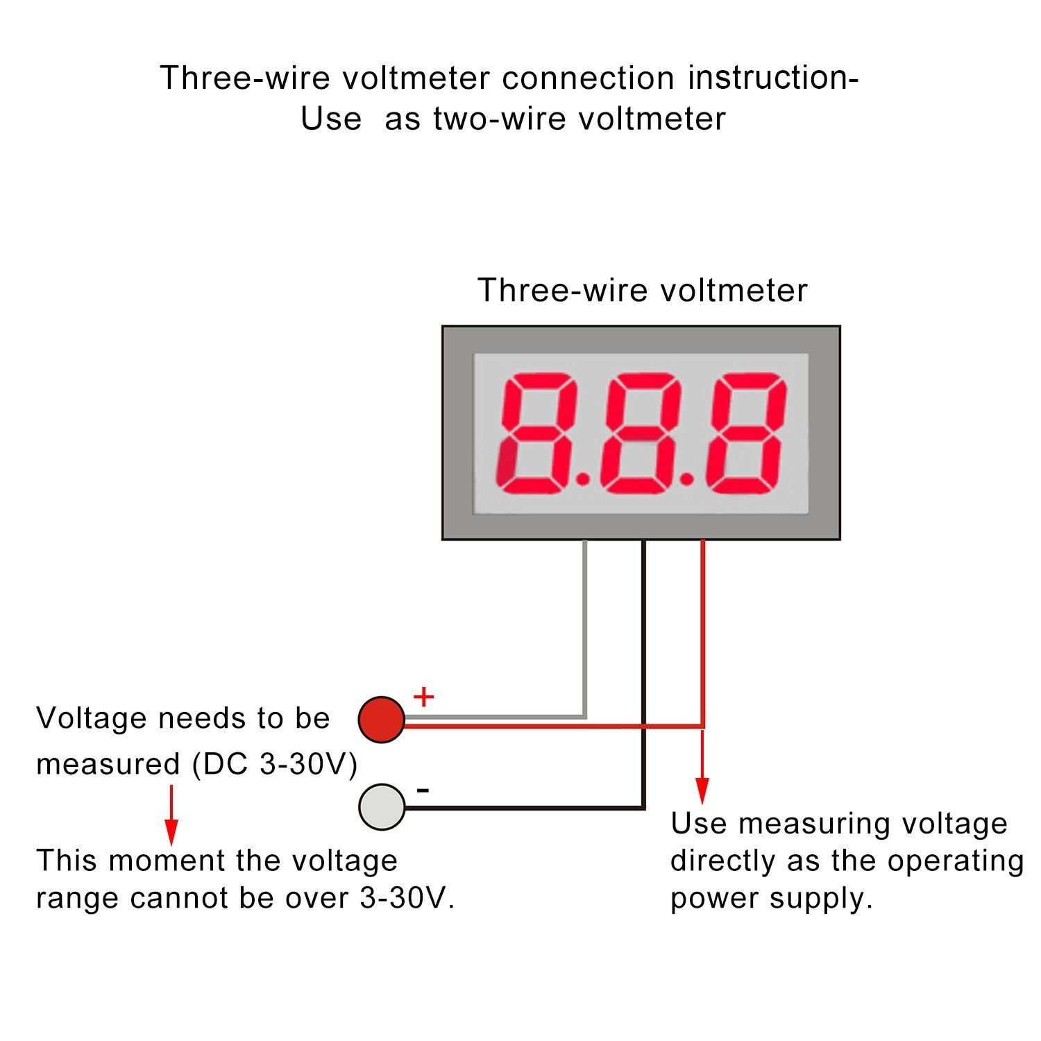 Wiring A Voltmeter Schematic Diagrams 5 Pieces 3 Wires 0 28 Red Led Display Panel Digital Dc 0100v 39 Ford
