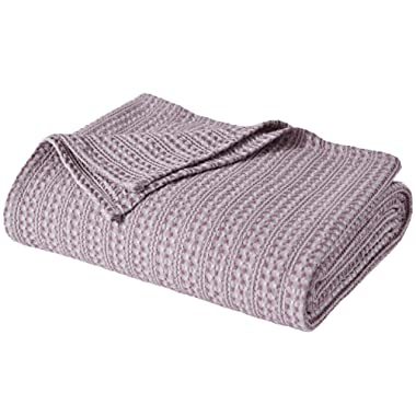 PHF Cotton Waffle Blanket Yarn Dyed Weave Bed Texture Home Decor Softness Comfort All-Season Queen Size Pale Purple