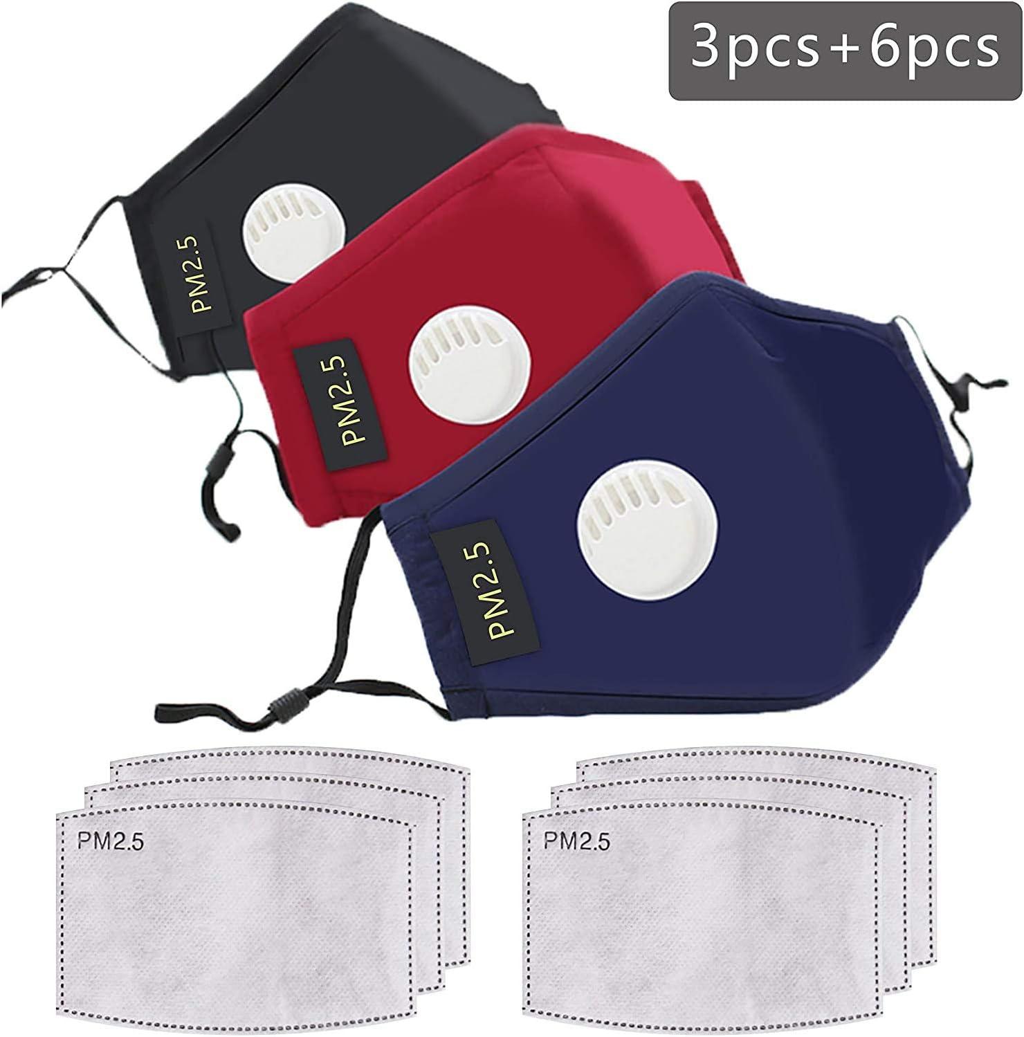 eiuEQIU 3er Pack Set Unisex Face Gesichtsschutz Wendbar Mundschutz Mund und Nasenschutz mit 6 fil-TER Baumwolle Waschbar Anti-Spuck Mund Shield Atmungsaktiv Gesichtsvisier
