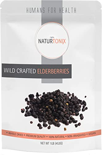 Dried Elderberries 100 Natural European Whole Wild Crafted Elder Berry Sambucus Nigra 1 Pound Resealable Pouch