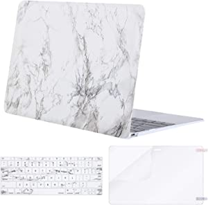 MOSISO Compatible with MacBook 12 inch Case with Retina Display (Model A1534, Release 2017 2016 2015), Plastic Pattern Hard Shell Case & Keyboard Cover & Screen Protector, White Marble