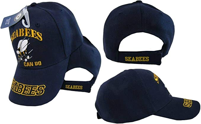 """Blue Navy Seabees /""""Can Do/""""  Hat US Military Construction Battalions Ball Cap"""