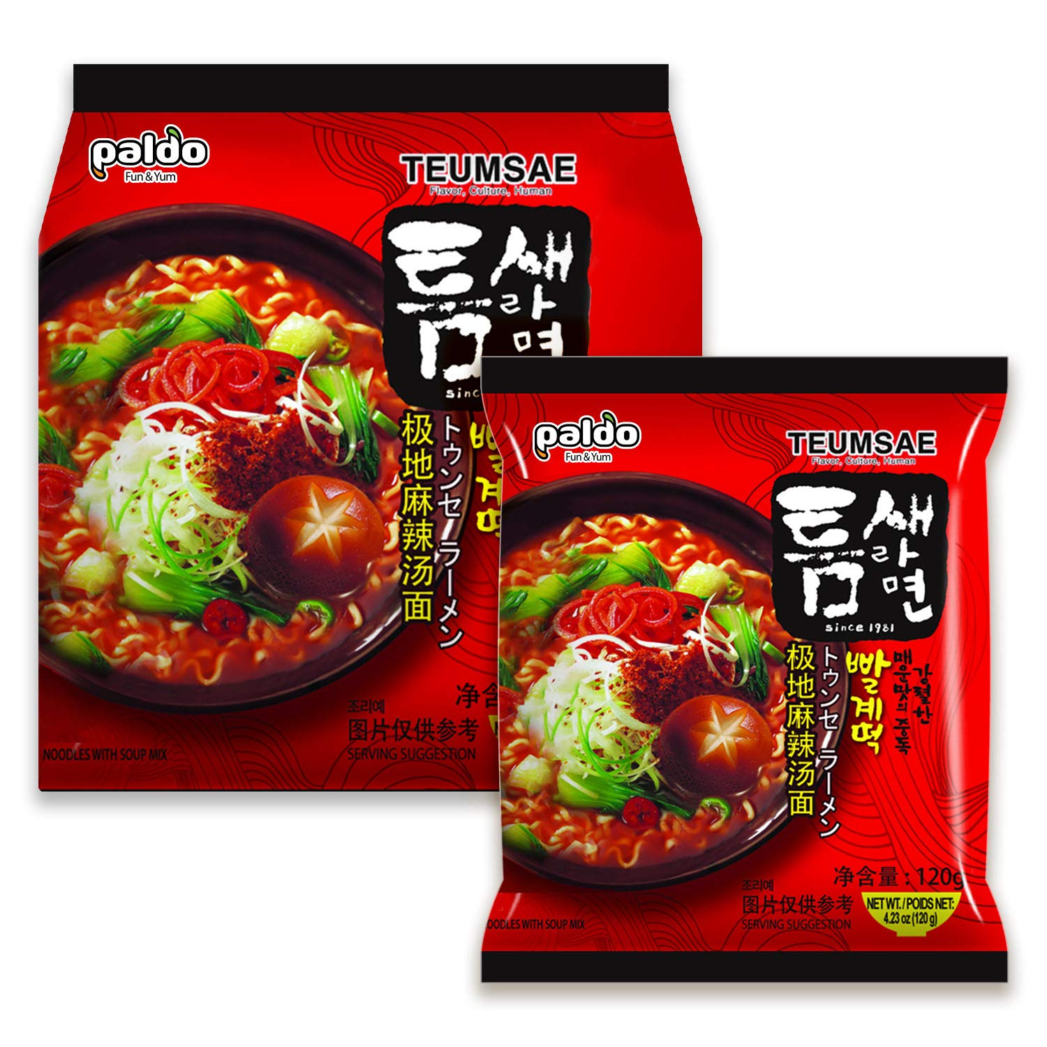 Paldo Fun & Yum Extra Hot Spicy Instant Noodles with Soup, Pack of 10, Teumsae Ramen with Spicy Broth, Best Oriental Style Korean Ramyun, Spicy Ramen Challenge, K-Food, 틈새라면 빨계떡 120g x 10