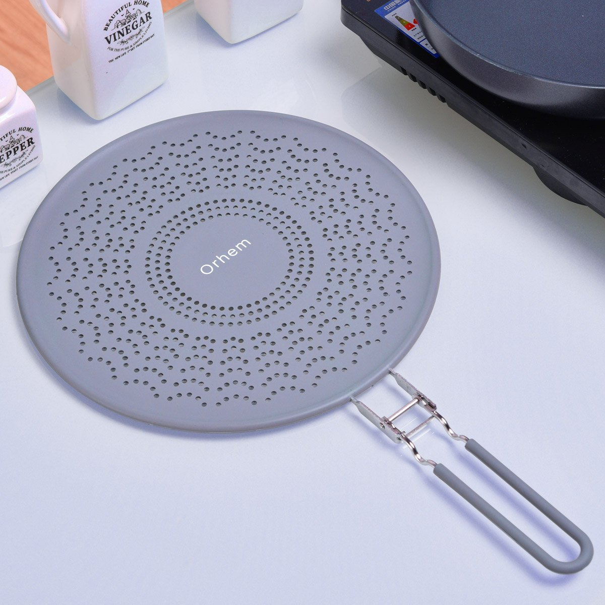 """11"""" Silicone Splatter Screen Strainer with Folding Handle, Heat Insulation"""
