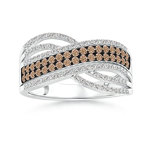 Angara Brown Diamond Interwoven Crossover Ring in Platinum DmIn3LTZY