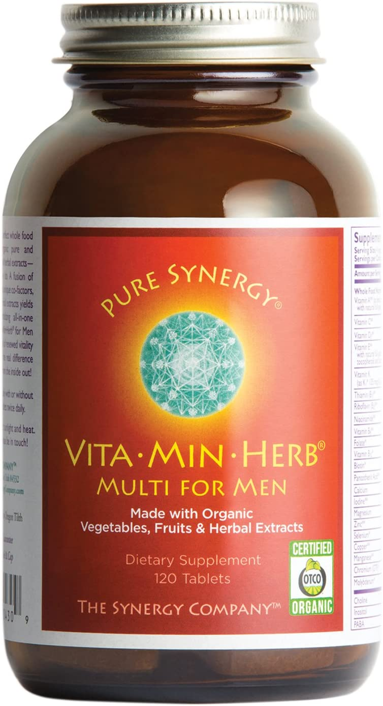 Pure Synergy VitaMinHerb 120 Tablets Men s Complete Multivitamin Made w Organic Fruits, Veggies, Herbs