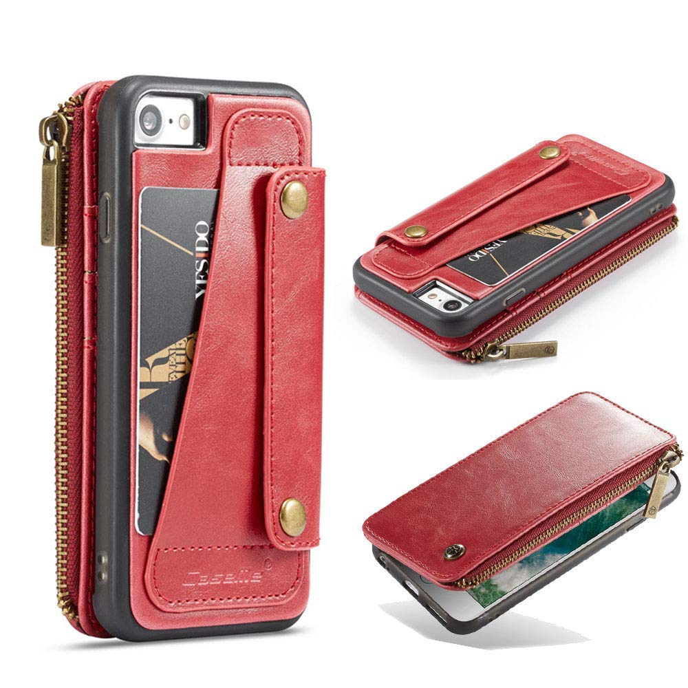 Jennyfly iPhone 7 Cover, Multifunction PU Leather Zipper Full Body Protection Wallet Cover Separate Retro Business Phone Case with Card Slots & Money Pocket for 4.7 inch iPhone 7/8- Red by Jennyfly