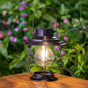 Hapjoy Solar Lantern, Garden Outdoor Hanging Solar Light Metal Waterproof Edison Bulb Lights for Pathway Porch Garden Patio Deck Yard