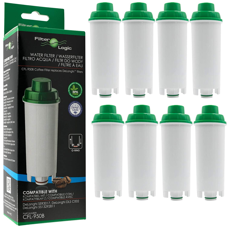 8 x FilterLogic CFL-950B - Filtro de agua para cafetera automática de DeLonghi reemplaza el cartucho DLS C002 / DLSC002 / SER 3017 / SER3017 / 5513292811 con Máquina de café ECAM