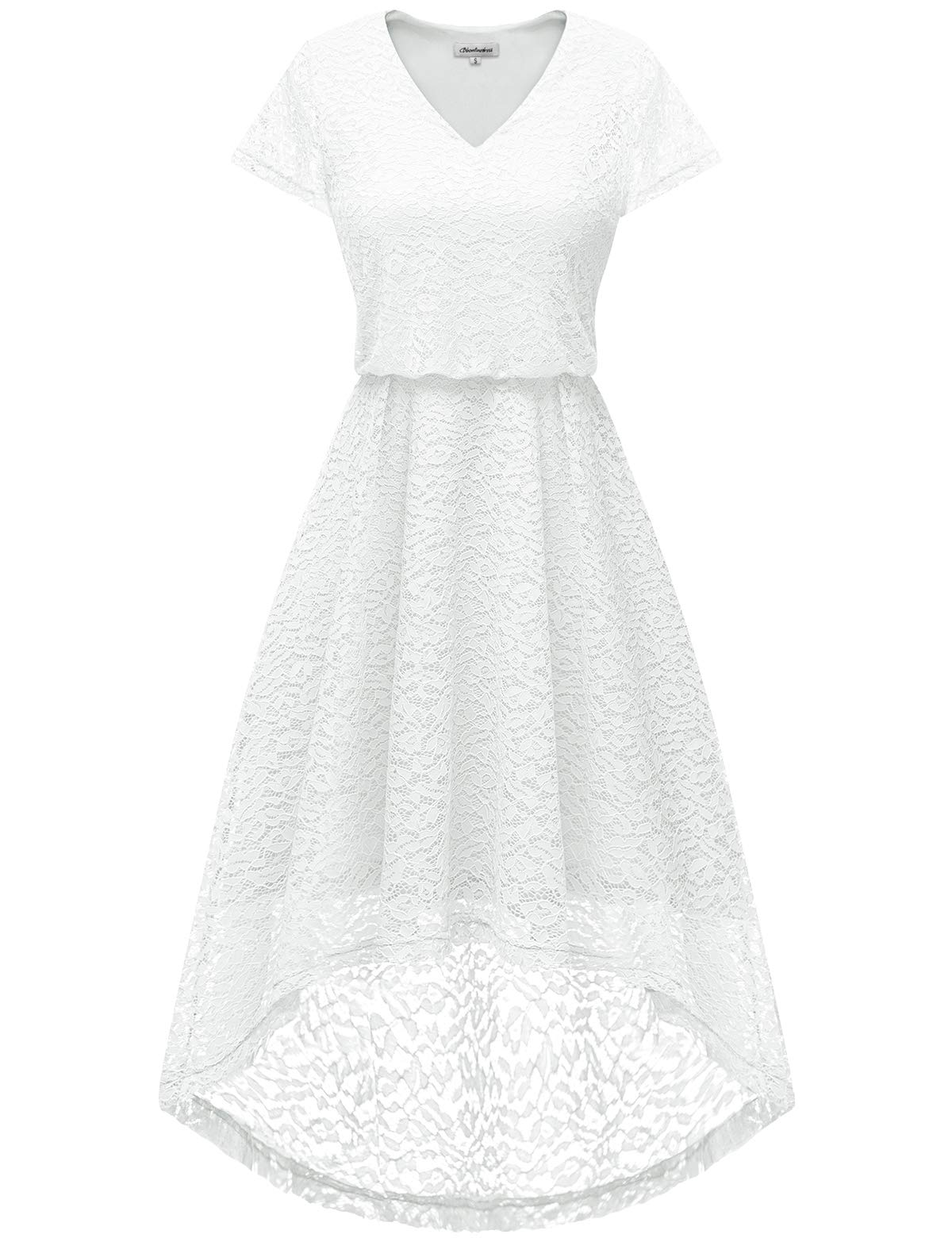 Bbonlinedress Women's V-Neck Floral Lace Hi-Lo Flare Sleeve Cocktail Swing Party Dress White L