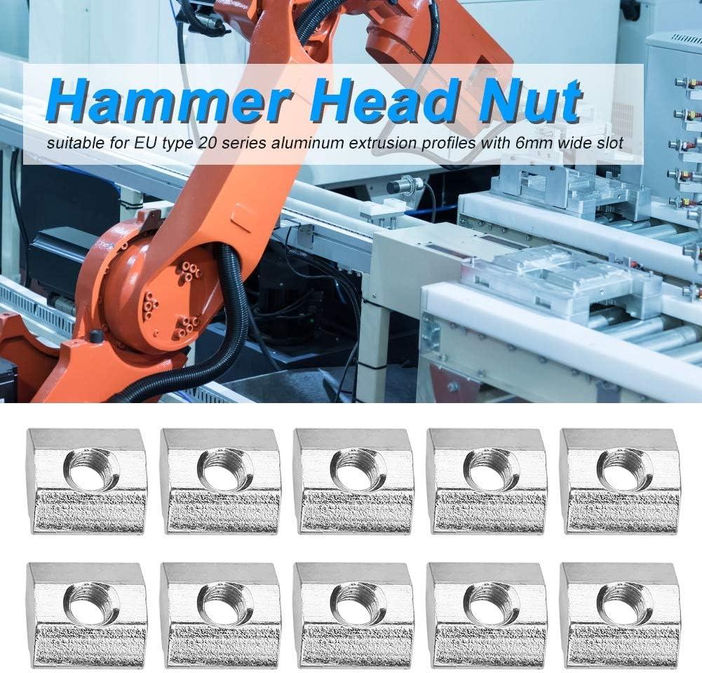 Tuerca de cabeza de martillo-50 piezas Tuerca de ranura en T deslizante de acero al carbono for accesorios de perfil de aluminio de la serie 20 M4 5 10