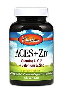 Carlson - ACES + Zn, Vitamins A, C, E + Selenium & Zinc, Cellular Health & Immune Support, Antioxidant, 120 Soft gels
