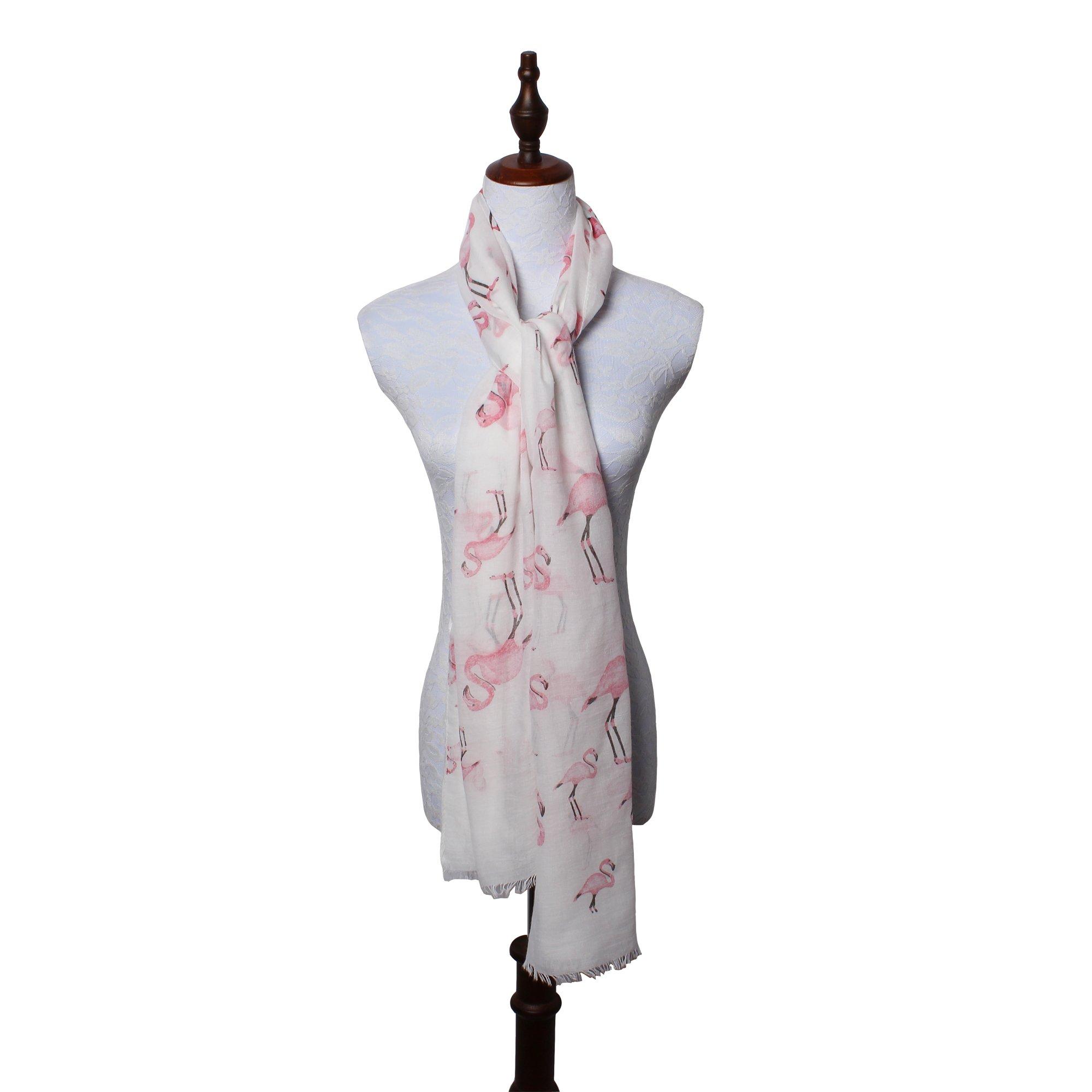 daguanjing 【Colorful Spring Inspired】 Women's Lightweight Fashion Scarf, Floral and Modern Print Sheer Shawl Wrap Flamingo by daguanjing (Image #6)