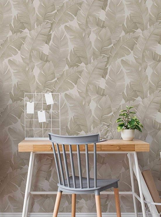 Flächenvorhang zum Kletten zeitloses Blätter-Rankenmuster 45x145 cm beige//natur