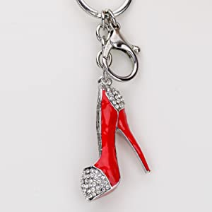 Lilly Rocket Big Oversized Heel Pump Key Chain with Bling Swarovski Rhinestone Crystal