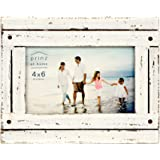 PRINZ Homestead 4-Inch by 6-Inch Distressed Plank Picture Frame, White