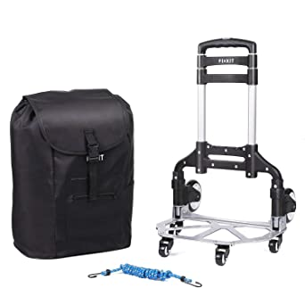d93c43449cdd FIXKIT Portable Folding Trolley Cart,Hand Truck Luggage Aluminum Alloy  Household Supermarket Cart 75 kg Capacity