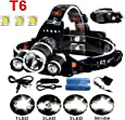 5000Lumen Bright 3 CREE XM-L XML T6 LED Headlamp,KissAir(TM) Waterproof Flashlight Torch 4 Modes Headlight with Rechargeable Batteries for Hiking Camping Outdoor Riding Night Fishing Hunting Running Night Riding