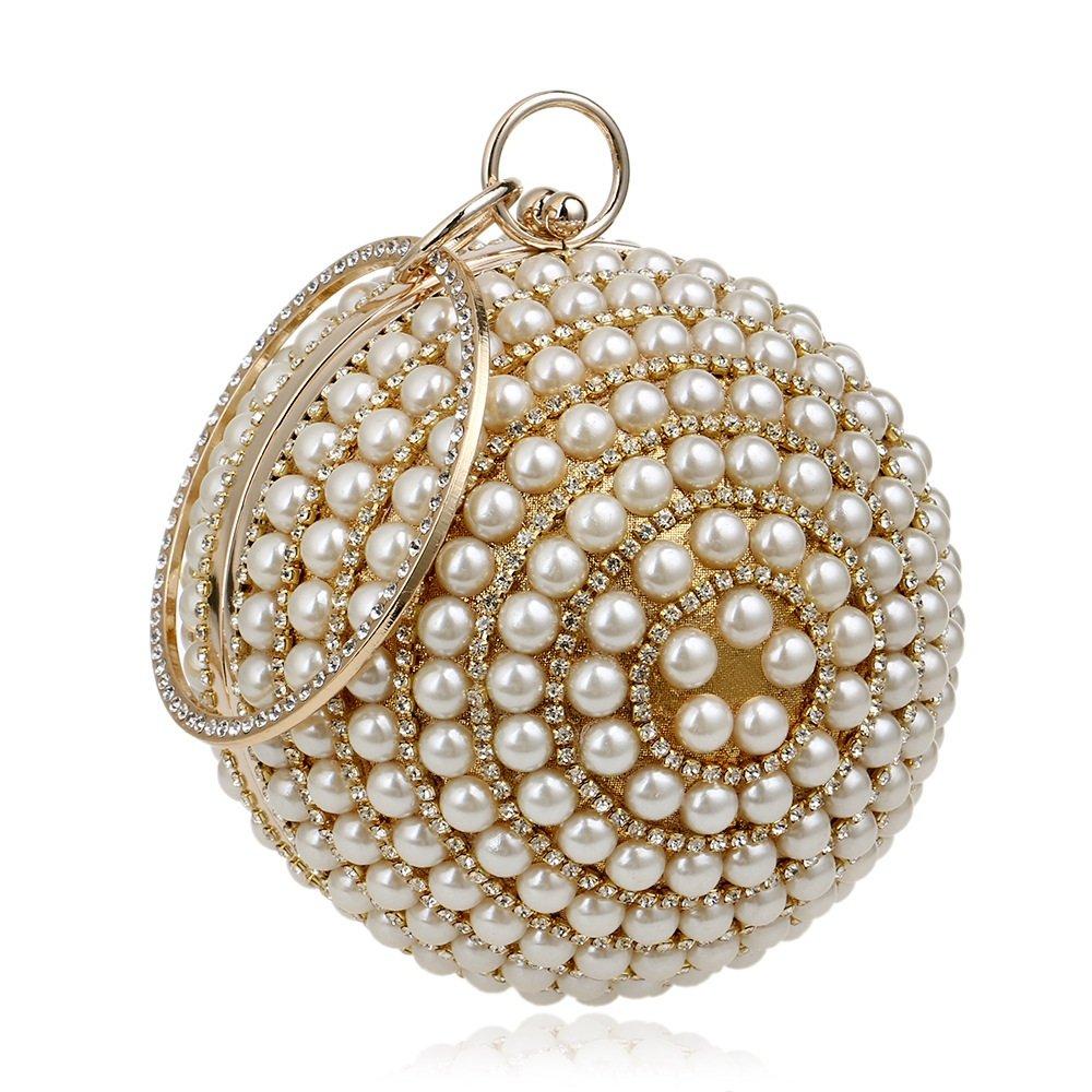 FeliciaJuan Suede Evening Bag Women's Pearl Beaded Rhinestone Clutch Bag Ladies Round Ball Evening Bag Bridal Wedding Handbag Prom Bag (Color : Gold)