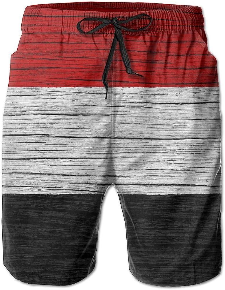 HFSST Yemen Wooden Texture Yemeni Flag Men Kid Male Summer Swimming Pockets Trunks Beachwear Asual Shorts Pants Mesh