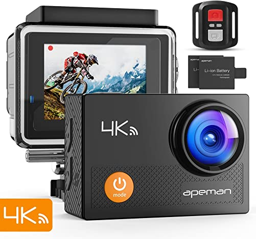APEMAN Action Camera 4K WiFi Webcam 16MP Ultra HD Underwater 30M Waterproof with Remote Control Sports Camera