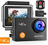 【Upgraded】APEMAN 4K Action Waterproof Camera 16MP Ultra Full HD Wi-Fi Sport Cam 30M Diving Underwater Camera with 2.0'' LCD Screen 170° Wide View Angle/2.4G Remote Control/2 Rechargeable Batteries