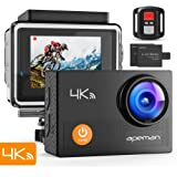 "APEMAN Action Camera 4K WiFi Ultra HD Waterproof Sports DV Camcorder 170¡ã Wide Angle/2"" LCD/2.4G Wireless Remote Control/2 Rechargeable Batteries/20 Mounting Kits"