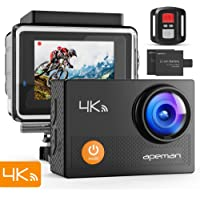 "APEMAN Action Camera 4K WiFi Ultra HD Waterproof Sports DV Camcorder 170 Degree Wide Angle/2"" LCD/2.4G Wireless Remote Control/2 Rechargeable Batteries/20 Mounting Kits (4K 16MP)"