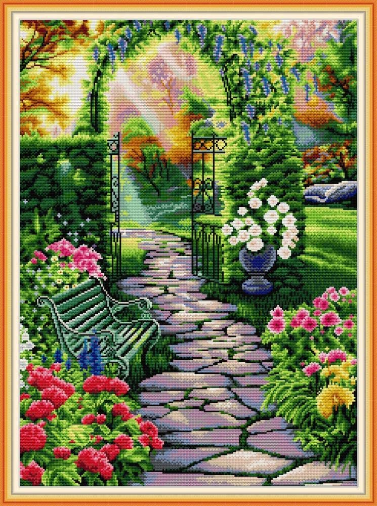 Maydear Cross Stitch Kits Stamped Full Range of Embroidery Starter Kits for Beginners DIY 14 CT 2 Strands -Garden Path 18.90×24.80 inch
